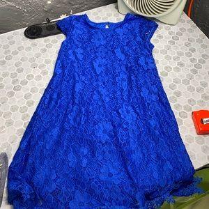 Wonder Nation Large Blue Lace Short Sleeve Dress
